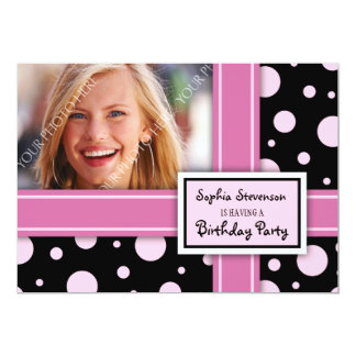 Photo Birthday Party Invitation Pink Black Dots