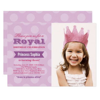 Photo Birthday Party Invitation | Purple Princess