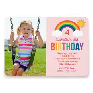 Photo Birthday Party Invitation Rainbow Colors Custom Invitation