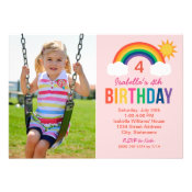 Photo Birthday Party Invitation   Rainbow Colors