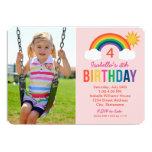 Photo Birthday Party Invitation | Rainbow Colors Custom Invitation