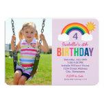 Photo Birthday Party Invitation | Rainbow Colors Invite