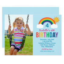 Photo Birthday Party Invitation | Rainbow Colors