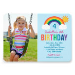 Photo Birthday Party Invitation | Rainbow Colors Personalized Announcement