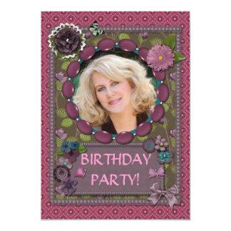 Photo birthday party invitation scrapbook effect
