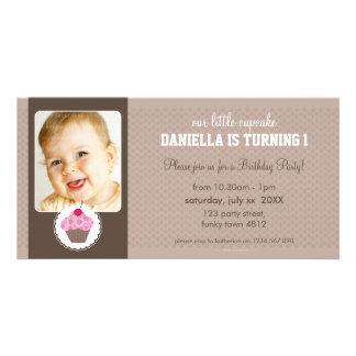 PHOTO BIRTHDAY PARTY INVITE :: cupcake 7L Personalized Photo Card