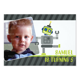 PHOTO BIRTHDAY PARTY INVITES :: robot dancing 1L