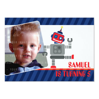 PHOTO BIRTHDAY PARTY INVITES :: robot dancing 3L