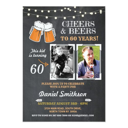 Photo Birthday Party Men's Cheers Beers Picture Invitation