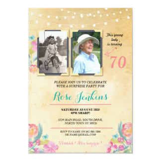 Photo Birthday Party Pink Floral 2 Pictures Invite