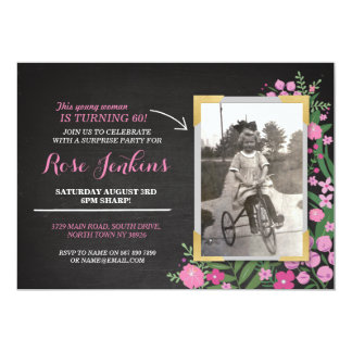 Photo Birthday Party Pink Floral Any Age Invite