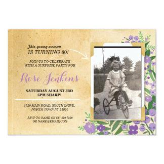 Photo Birthday Party Purple Floral Vintage Invite