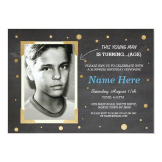 Photo Birthday Vintage Chalk Invite Mens 30th 40th