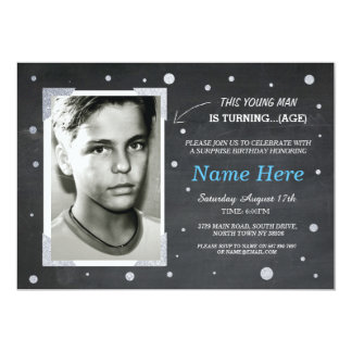 Photo Birthday Vintage Chalk Invite Mens 40th 50th