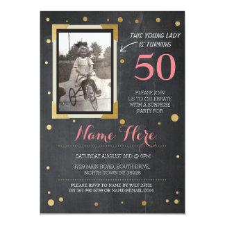 Photo Birthday Vintage Style Chalk Gold Invitation