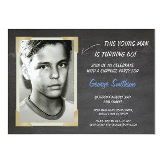 Photo Birthday Vintage Style Chalk Invitations