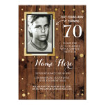 Photo Birthday Vintage Style Wood Any Age Invite