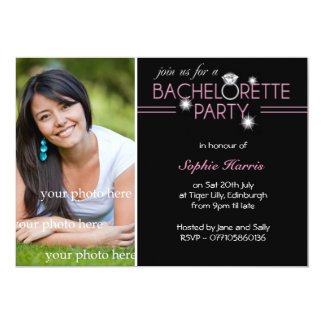 Photo Bling Ring Pink Bachelorette Party 13 Cm X 18 Cm Invitation Card