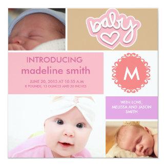Photo block baby girl announcement