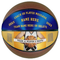 Photo Blue and Gold Personalized Basketball Ball