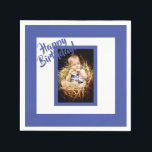 """Photo blue birthday napkin for a boy<br><div class=""""desc"""">A blue and white photo napkin for a boy.  A blue frame and white background. Blue colored letters and the text: Happy Birthday!  A template for Your photo of birthday child.</div>"""