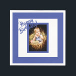 "Photo blue birthday napkin for a boy<br><div class=""desc"">A blue and white photo napkin for a boy.  A blue frame and white background. Blue colored letters and the text: Happy Birthday!  A template for Your photo of birthday child.</div>"