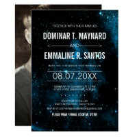 Photo Blue Galaxy Wedding Invitation