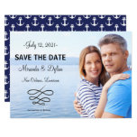 Photo Blue Nautical Anchors - Save the Date Card