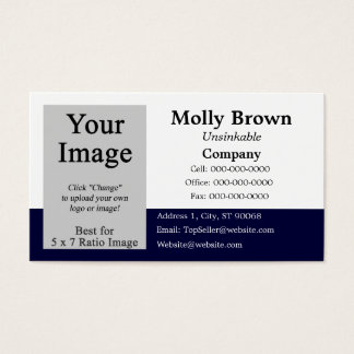 Photo Blue White Blank Business Card Template