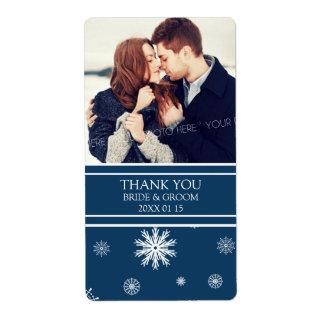 Photo Blue White Snowflakes Winter Wedding Label