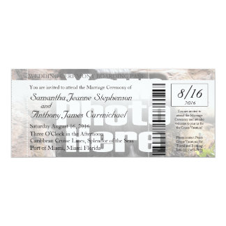 "Photo Boarding Pass Wedding Ticket Invitation 4"" X 9.25"" Invitation Card"