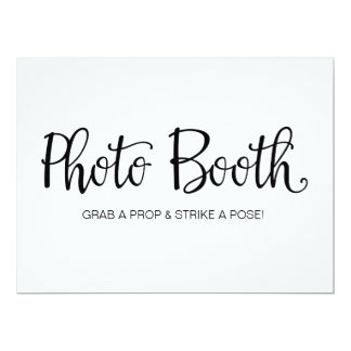 """Photo Booth"" Calligraphy Wedding Sign Card"
