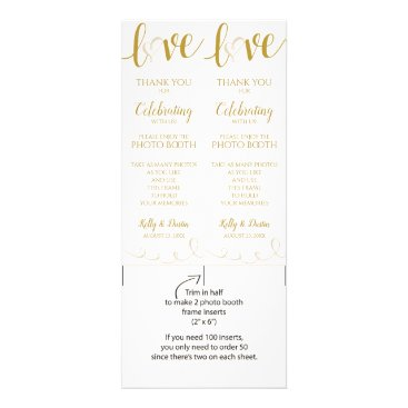 Wedding Themed Photo Booth Cards | Love Script - Gold & Beige