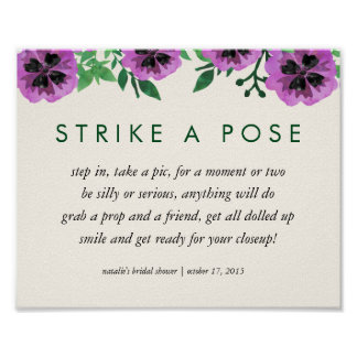 Photo Booth Poster Sign   Purple Pansy
