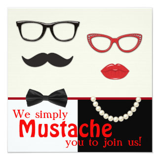 Photo Booth Prop Mustache Birthday Party Personalized Invitations
