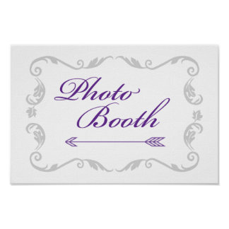 """""""Photo Booth"""" Purple, Grey and White Wedding Sign Poster"""