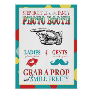 Photo Booth Sign Carnival Circus Birthday L Poster