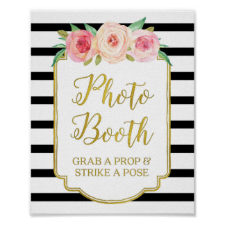 Photo Booth Sign Pink Gold Black White Stripes Poster