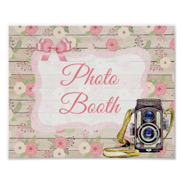 Wedding Themed Photo Booth Sign Pink Rustic Wood Floral Poster