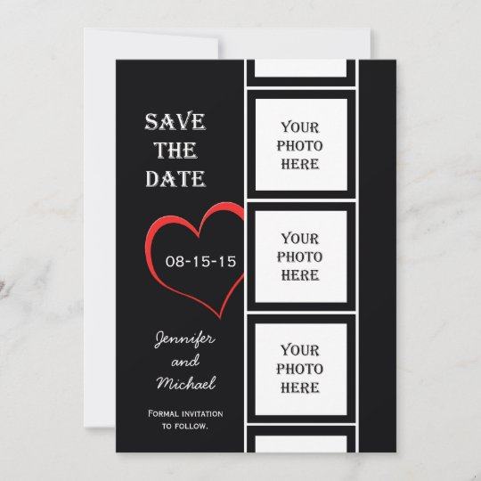 Photo Booth Style Save The Date Invitation Card