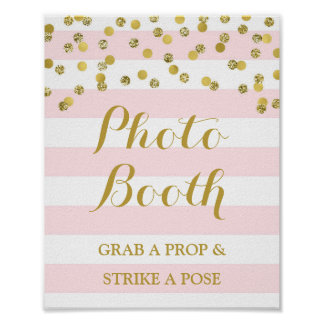 Photo Booth Wedding Sign Pink Stripe Gold Confetti Poster