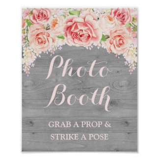 Photo Booth Wedding Sign Pink Watercolor Wood