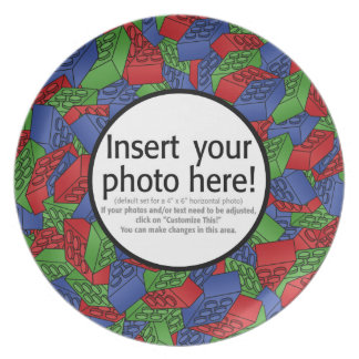 Photo Border with Pattern Melamine Plate