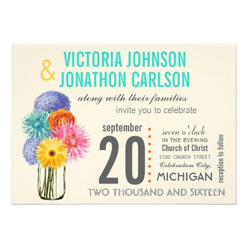 Photo Bouquet in a Mason Jar Wedding Invitations