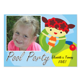 Photo Brown Girl Pool Party  Birthday Invitation