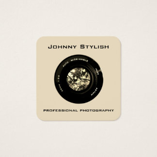 Photo camera lens artistic cover square business card