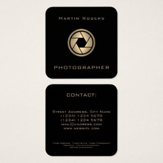 Photo camera lens artistic cover square business card