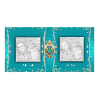 Photo Card Aqua Blue Ripple Floral Double Frame