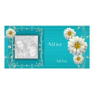 Photo Card Aqua Blue Ripple Floral Single Frame
