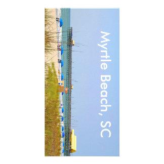 Photo Card, Beach Scene at Myrtle Beach SC, Pier Photo Card